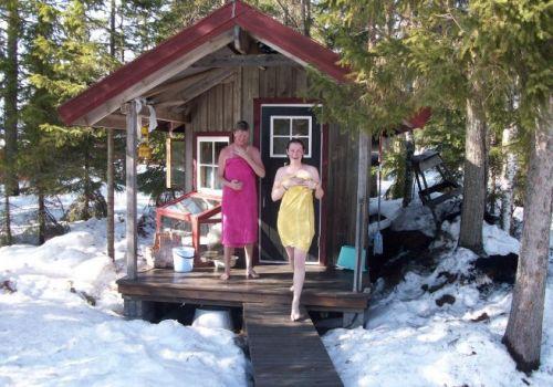 Introducing Mom to the Swedish Sauna