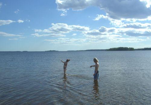 Having a Swim at 65°48'31.50″N,  23°31'38.26″E