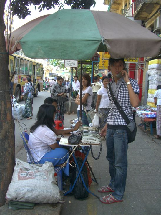 Outdoor telephone stand in Yangon